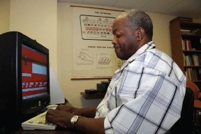 Larry McDowell practicing his keyboarding skills using Talking Typing Teacher