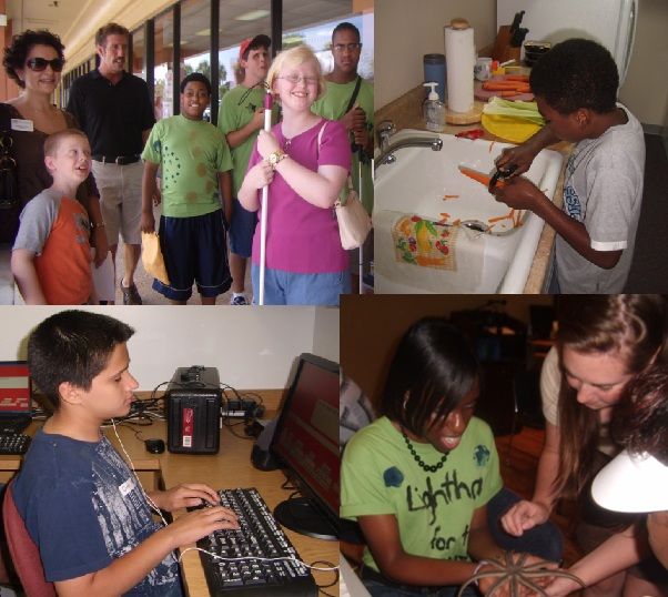 Collage of four pictures from the 2009 Summer camp. One is a group of students and staff standing outside of a field trip site, another is of a camper practicing his kitchen skills slicing carrots, another is of a camper practicint he typing skills and the fourth is of a camper holding a starfish at the Loxahatchee River Center