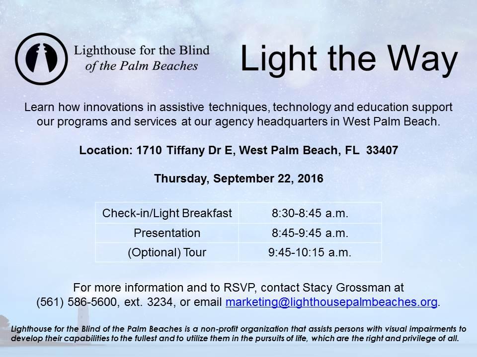 September 22, 2016 Light the Way invitation