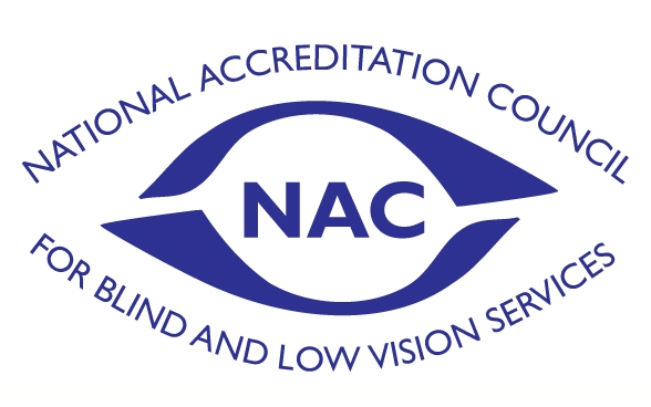National Accreditation Council for Blind and Low Vision Services (NAC) Logo with the outline of an eye in blue.
