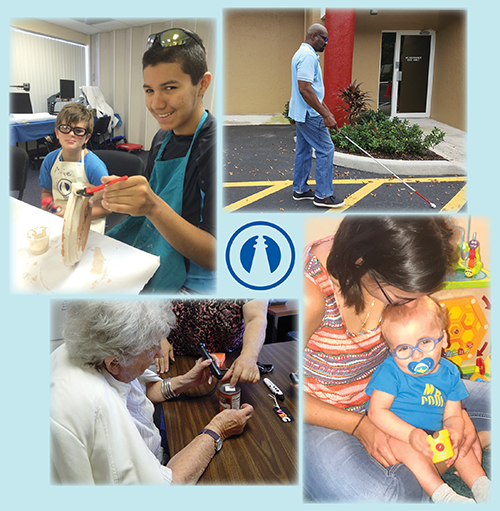 A collage of clients served by the West Palm Beach based Lighthouse, including a baby with his mother, a man using a white cane, a woman using assistive technology and children doing summer camp activities